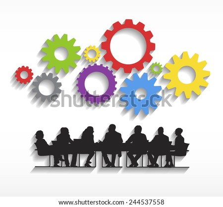 Silhouettes of Business People Meeting and Gears - stock vector