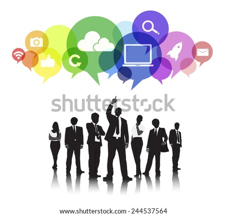 Silhouettes of Business People with Social Media Concepts - stock vector