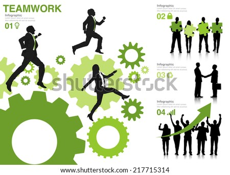 Silhouettes of Business People with Teamwork Concepts - stock vector