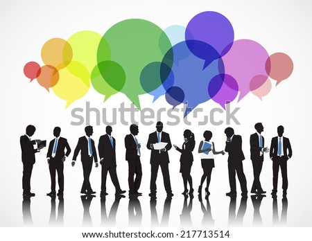 Silhouettes of Business People Working and Speech Bubble - stock vector