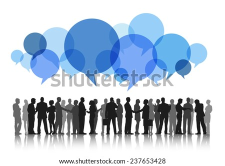 Silhouettes of Business People Working and Speech Bubbles - stock vector