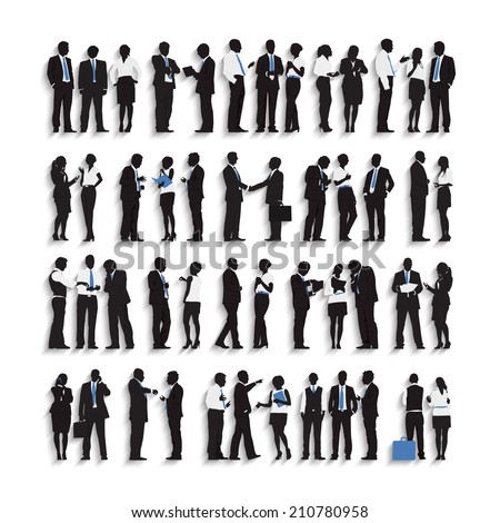 Silhouettes of Business People Working in a Row - stock vector