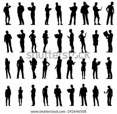 Silhouettes of Business People Working in a Row Vector - stock vector
