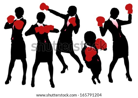 Silhouettes of Business woman boxing and punching, business competition concept. - stock vector
