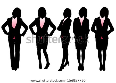 Silhouettes of Business woman with white background - stock vector