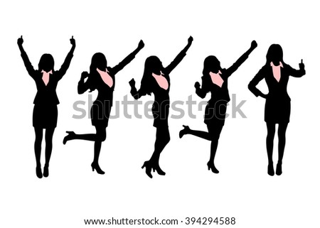 Silhouettes of Business women standing with different hand gesture