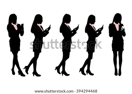 Silhouettes of Business women Walking and speaking mobile phone - stock vector