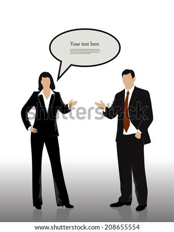 silhouettes of businessmen with a bubble for your text - stock vector