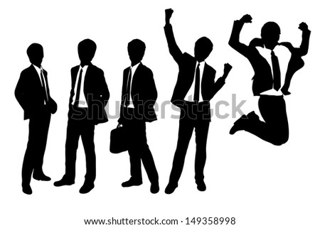 Silhouettes of Businessmen with white background - stock vector