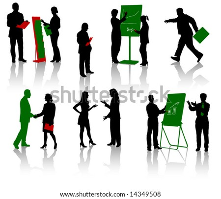 Silhouettes of businesspeople. Men and women. Vector. Isolated. - stock vector