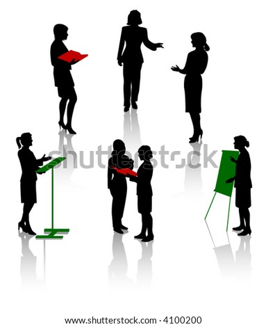 Silhouettes of businesswoman - stock vector