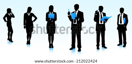 Silhouettes of businesswomen and businessmen - stock vector