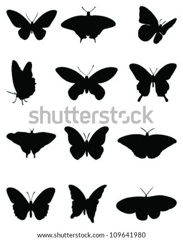 Silhouettes of butterflies =vector - stock vector