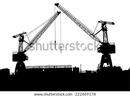 Silhouettes of cargo cranes in the seaport - stock vector