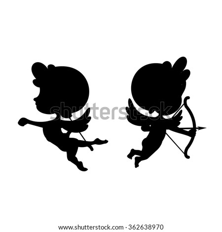 Silhouettes of cartoon cupids in black and white. Valentine's day design elements - stock vector