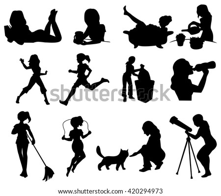 Silhouettes of cartoon girl in various situations