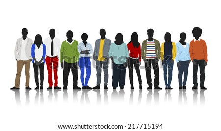 Silhouettes of Casual People with Colorful Clothes - stock vector