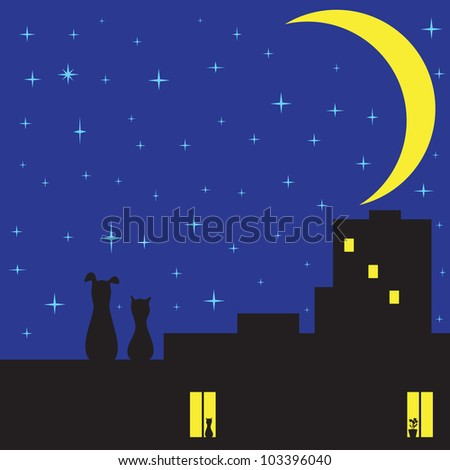 Silhouettes of cat and dog sitting on roof of house with two glowing windows and looking on sky with plenty of stars and crescent moon
