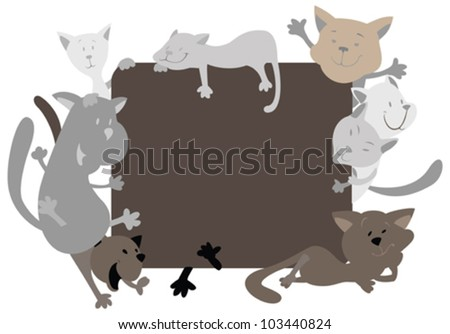 Silhouettes of cats around the frame