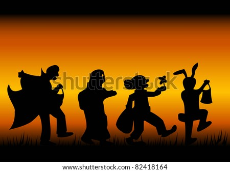Silhouettes of characters of a halloween on a black-fiery background - stock vector