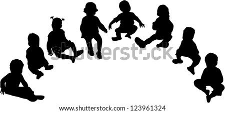silhouettes of children - stock vector