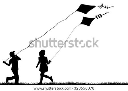 Silhouettes of children flying kites  - stock vector