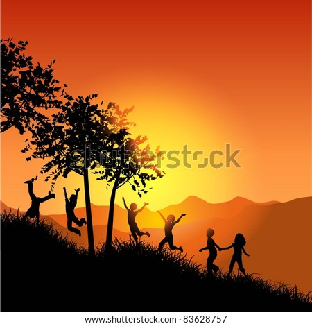 Silhouettes of children playing and running up a hill