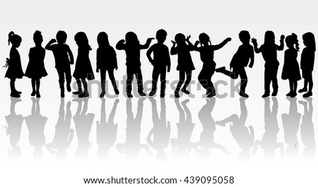 Silhouettes of children playing. Large group.