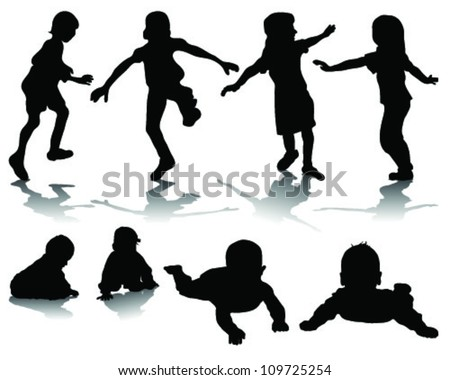 Silhouettes of children playing-vector - stock vector