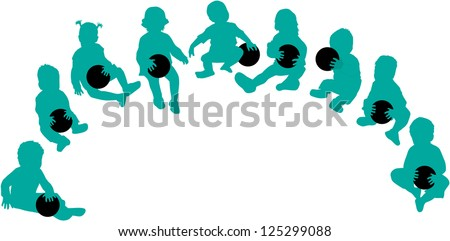 Silhouettes of children - playing with a ball - stock vector