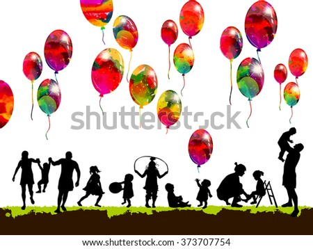 silhouettes of children with balloons family. Vector - stock vector