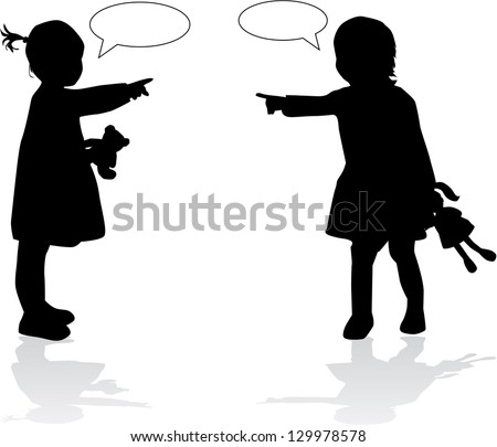 Silhouettes of childrens - stock vector