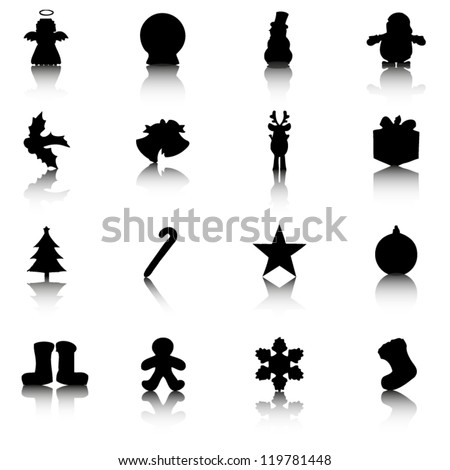 Silhouettes of Christmas related items with reflection - stock vector
