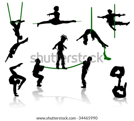 Silhouettes of circus performers. Acrobats and equilibrist. - stock vector