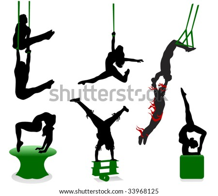 Silhouettes of circus performers. Acrobats and jugglers. - stock vector