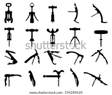 Silhouettes of corkscrew, vector illustration
