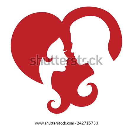 Silhouettes of couple in a heart.  - stock vector