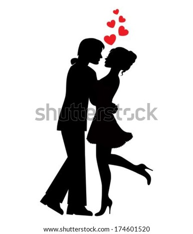 silhouettes of couples in love and hearts on a white background - stock vector
