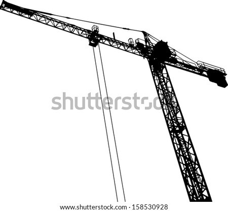 Silhouettes of crane on building - stock vector