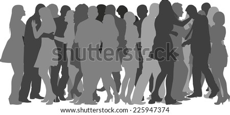 silhouettes of crowd dancing - stock vector