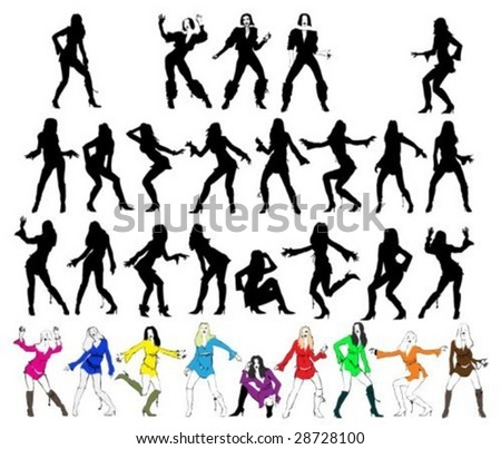 silhouettes of dancing and posing girls