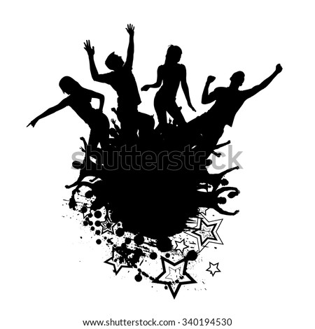 Silhouettes of dancing girls and boys - stock vector