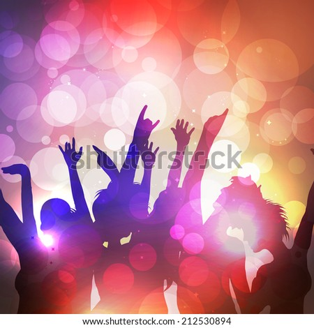 Silhouettes of Dancing People at Festival Party - Vector Illustration - stock vector