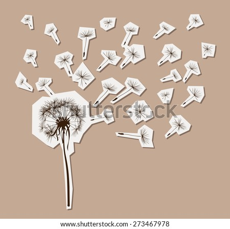 silhouettes of dandelion in the wind - stock vector