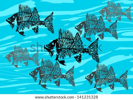 Silhouettes of decorative fish skeletons swimming in the same direction - stock vector