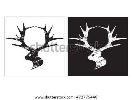 Silhouettes of deer in grunge style