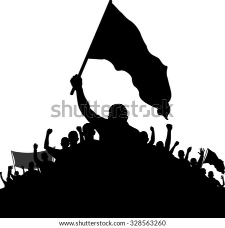 silhouettes of demonstrators - stock vector