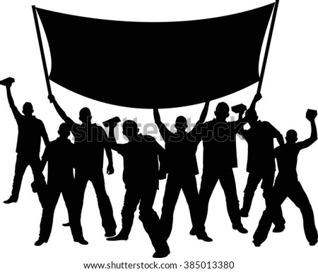 silhouettes of demonstrators with banner - stock vector