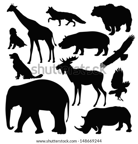 silhouettes of different animals on white background - stock vector