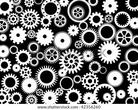 Silhouettes of different gear-wheels in a vector - stock vector